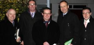 Cllr. Frankie Keena, Cllr. Aengus O'Rourke, Michael O'Brien (Athlone FF), Deputy Micheal Martin (FF Leader) and Deputy Robert Troy