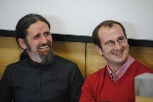 Deputy Luke 'Ming' Flanagan and Cllr. Paul Hogan (Sinn Fein) enjoying banter at the cannibas debate at AIT